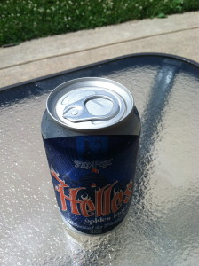 The top of the can of Helles Golden Lager.