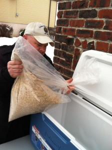 Here I am adding the grains to the mash-tun. This is the vessel that the grains steep in to extract the fermentable surgars.