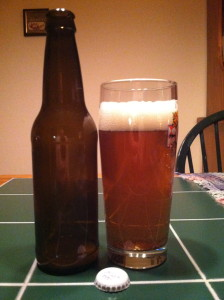 Here it is! Nice head on the beer, I love the color and the clarity is good also. Just too light in body.